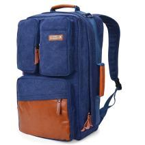WITZMAN Men Travel Backpack Vintage Laptop Bag Rucksack Casual Convertible Daypack (6618 Blue)
