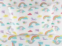 Where The Polka Dots Roam Queen Size Bed Sheets Rainbows and Unicorn 4 Piece Set │ Blue and White, Unisex, Flexible Microfiber, Durable, Wrinkle-Resistant Bedding │ Boys, Girls, Baby, Kids, Toddler