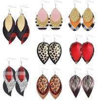 Layered leather Earrings for Women Lightweight Faux Leather Earrings Teardrop Leopard Print Plaid Stripe Glitter Petal Leaf Dangle Earrings