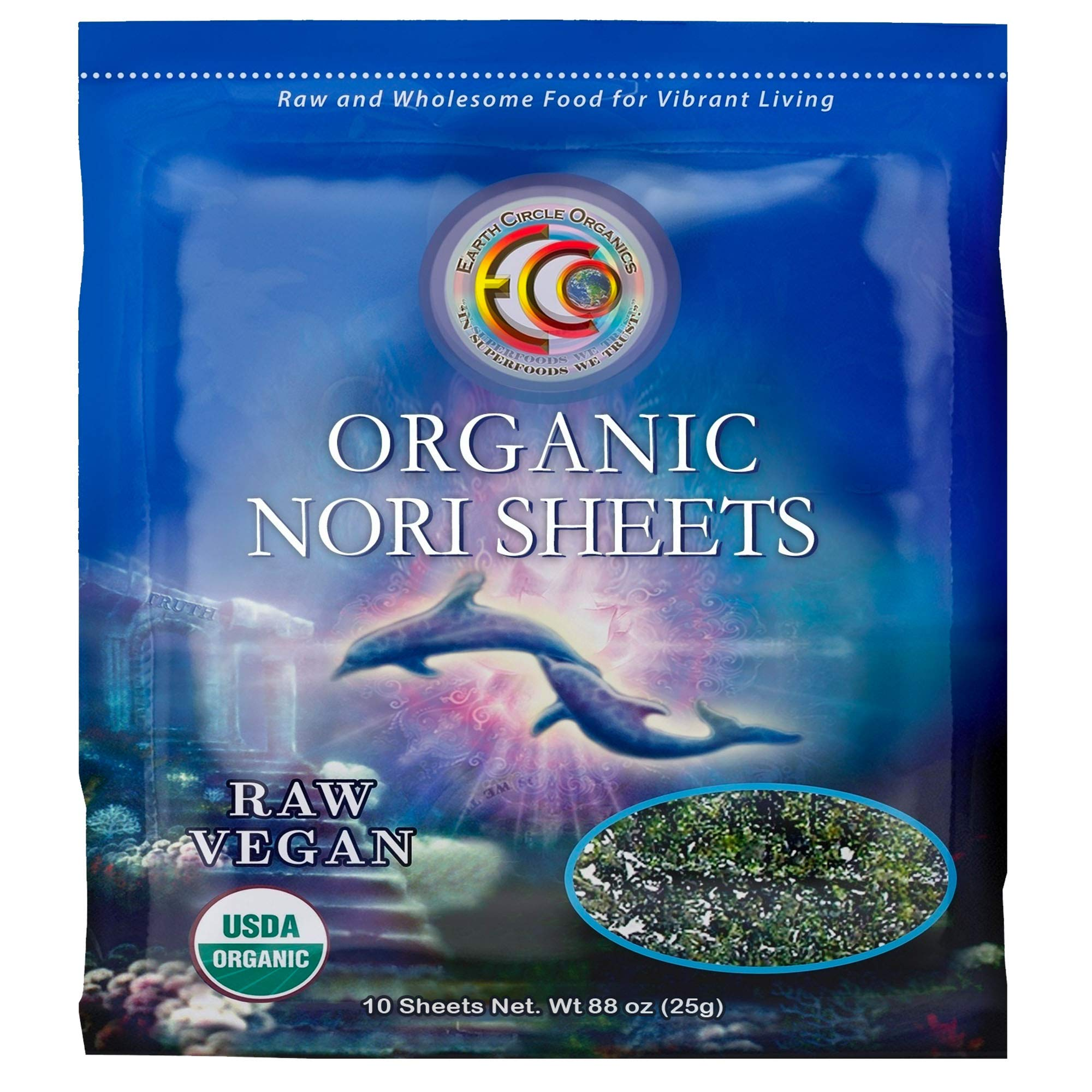 "Earth Circle Organics   Raw Certified Organic Nori Seaweed   Grade ""A"" Rating   Unheated & Not Roasted   Vegan   Paleo & Keto Friendly   Premium Quality Nori Sheets (10 Sheet)"