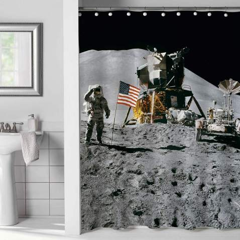 Mitovilla Nasa Astronaut On Moon Landing Mission Shower Curtain Set For Mens And Teen Kids Boy Bathroom Decor Surface Scenic Printing Accessories Grey 72 W X L