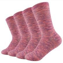 oBolvs 4P Womens Merino Wool Socks,Value-Lightweight Cushion Hiking Outdoor, Crew Socks