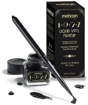 Mehron 1927 Liquid Vinyl Makeup – Long Wearing & Water Resistant Liquid with Professional Two-Piece Brush – Ultra Pigmented High Gloss Eyeliner (.5oz) (Jet Black)