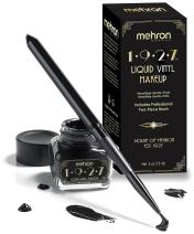 Mehron 1927 Liquid Vinyl Makeup – Long Wearing & Water Resistant Liquid with Professional Two-Piece Brush – Ultra Pigmented High Gloss Eyeliner (.5oz) (Jet Black)
