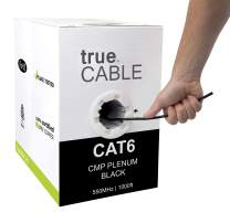 trueCABLE Cat6 Plenum (CMP), 1000ft, Black, 23AWG 4 Pair Solid Bare Copper, 550MHz, ETL Listed, Unshielded Twisted Pair (UTP), Bulk Ethernet Cable