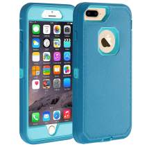 """Co-Goldguard iPhone 7 Plus /8 Plus Case [Litchi Pattern Series] Heavy Duty Armor 3 in 1 with Screen Bumper Rugged Protective Cover Shockproof Drop-Proof Non-Slip Shell for iPhone 7+/8+ 5.5"""",Blue"""