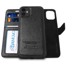 AMOVO Leather Case for iPhone 11 (6.1'') [Genuine Leather] iPhone 11 Wallet Case Detachable [2 in 1 Folio] [Wristlet] iPhone 11 Folio Case (iPhone 11, Genuine Leather Black)