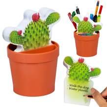DeskPlant Desk Tidy Fun Organiser Pen Holder Pot Sticky Notes Note Pad School Office Gift - DeskPlant Catcus