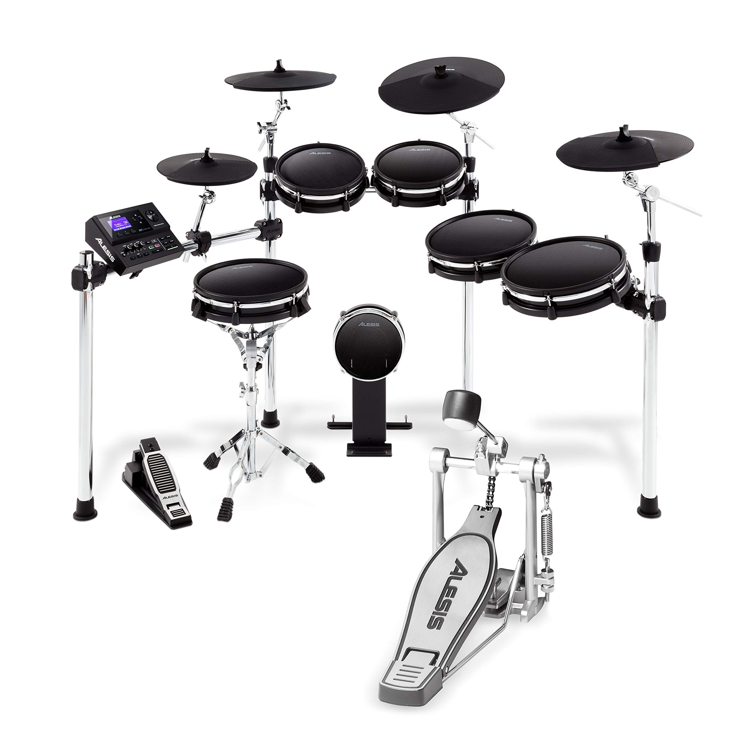 Alesis Drums KP1 and DM10MKII Pro Kit Bundle – Ten Piece Electric Drum Set with Mesh Drum Heads and Chain Drive Kick Drum Pedal