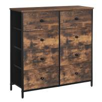 SONGMICS Industrial Dresser Storage Tower, Rustic Chest of Drawers, Metal Frame, Wooden Top and Front, 8 Fabric Drawers, Rustic Brown and Black ULGS024B01