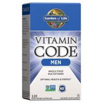 Garden of Life Vitamin Code Multivitamin for Men, Whole Food Mens Vitamins for Healthy Stress Response, Mental & Physical Energy, Heart & Prostate Health, 120 Vegetarian Capsules *Packaging May Vary*