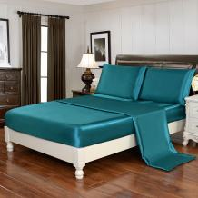 HollyHOME Silky Soft Luxury 4 Piece Deep Pocket Full Satin Sheet Set, Free Fitted Sheet Straps Included, Teal
