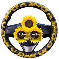 Evankin Sunflower Steering Wheel Cover Cute and Handmade,PU Universal Steering Wheel Cover 15 inch, Fashionable Boho Sunflower Car Accessories for Women,Top Girl Car Accessories(Leather)
