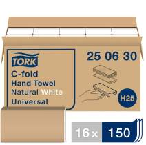 Tork Universal C-Fold Hand Towel H25, Disposable Paper Hand Towel 250630, 100% Recycled Fibers, 1-Ply, Natural/White - 16 x 150 Sheets