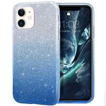 MILPROX iPhone 11 Case, Bling Sparkly Glitter Luxury Shiny Sparker Shell, Protective 3 Layer Hybrid Anti-Slick Slim Soft Cover for iPhone 11 6.1 inch (2019)-Blue Gradient