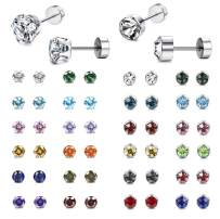 Thunaraz 24Pairs CZ Stud Earrings for Women Men 316L Stainless Steel Multicolor Cubic Zirconia Screwback Earrings Set Cartilage Piercing Barbell Screwback Assorted Colors Earrings