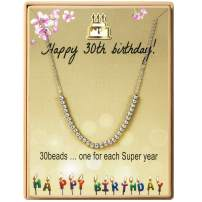 SANNYRA Happy Birthday Gifts Necklace Stainless Steel Bead Necklace Gift for Women Girls 11st 12th 13th 14th 15th 16th 17th 18th 19th 20th 21th 25th 30th