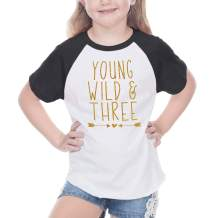 Bump and Beyond Designs Third Birthday Outfit Girl Three Year Old Girl T-Shirt (24 Months Black Raglan)