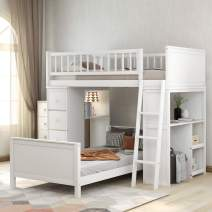 Twin-Over-Twin Loft Bunk Bed with Storage Drawers and Shelves, Baysitone Loft System Twin Over Twin Bunk Bed Frame Wood with Ladder, Can Be Separated Into 2 Beds, No Box Spring Needed (White)