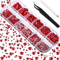 TecUnite 2000 Pieces Flat Back Gems Round Crystal Rhinestones 6 Sizes (1.5-6 mm) with Pick Up Tweezer and Rhinestones Picking Pen for Crafts Nail Face Art Clothes Shoes Bags DIY (Red)