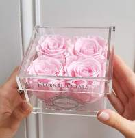 100% Real Roses That Last A Year - The Perfect Unique Gift for Women, Men, Anniversary Gift, Birthday Gift – White Gold Quartet (Light Pink)