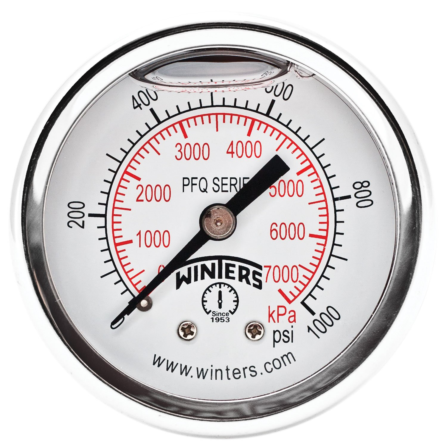 """Winters PFQ Series Stainless Steel 304 Dual Scale Liquid Filled Pressure Gauge with Brass Internals, 0-1000 psi/kpa, 2"""" Dial Display, +/-2.5% Accuracy, 1/4"""" NPT Back Mount"""