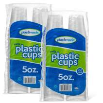 [200 Count] PlastiMade 5 Oz Clear Plastic Disposable Reusable Drinking Cups For Home, Office, Wedding, Events, Parties, Take Out, Water, Juice, Soda, Beer Cocktails (2 Packs)