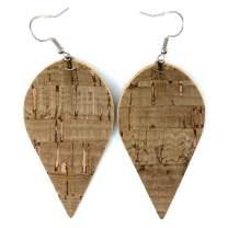 Cork wood grain faux leather teardrop earrings | stainless-steel hypoallergenic drop earrings | packaged in floral box for gift