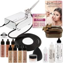 Belloccio Professional Beauty Deluxe Airbrush Cosmetic Makeup System with 4 Medium Shades of Foundation in 1/2 oz Bottles - Kit includes Blush, Bronzer and Highlighter & 3 Free Bonus Items, Video Link
