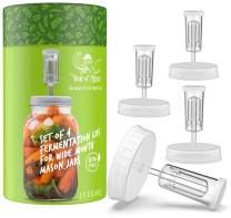 Year of Plenty BPA-Free, Clear Fermentation Lids - Set of 4 - for Making Sauerkraut in Wide Mouth Mason Jars - Includes Instructions, Recipe and Gift Box for Storage… (Clear)