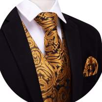 Barry.Wang Formal Men Dress Vest Matched Paisley Tie Set Suit Waistcoat Wedding 5PCS