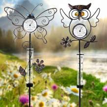 Juegoal 31.5 Inch Rain Gauge with Thermometer, Butterfly & Owl Garden Stakes Decor, Waterproof Rustproof Metal Yard Art Outdoor Lawn Pathway Patio Decorations, Set of 2