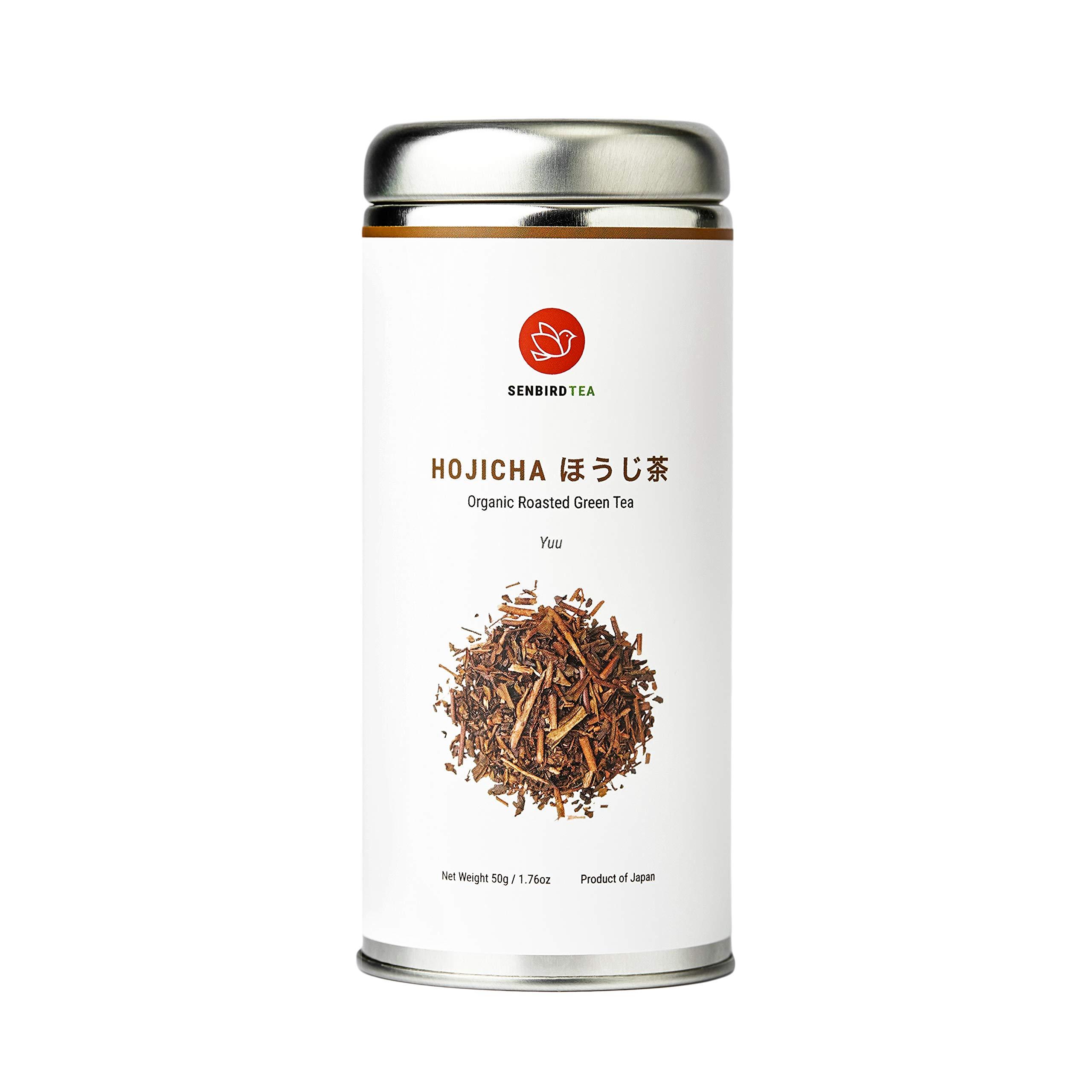 Senbird Organic Hojicha Roasted Green Tea - Hojicha Yuu | 50g Japanese Roasted Green Tea Houji Tea From Shizuoka, Japan | Organic Japanese Loose Leaf Green Tea in Airtight Tea Tin