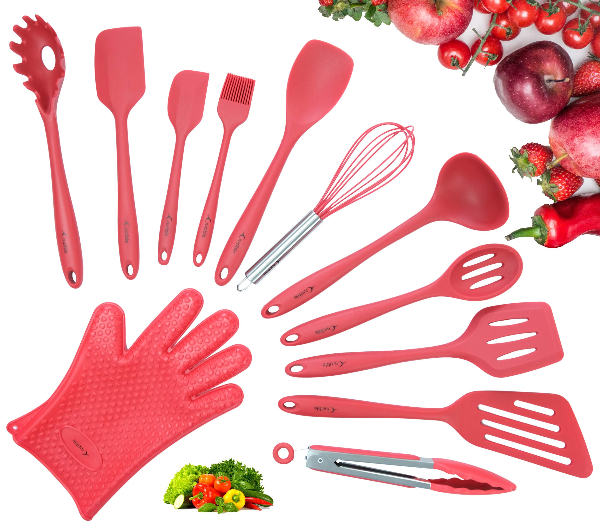 Utensils Set, 12-Piece Complete Silicone Baking & Cooking Kitchen Tools Set, Cookware Set, BBQ, Kitchen Gadgets - Red - Utensilios de Cocinas