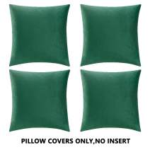 COMFORTLAND Throw Pillow Cases 18x18 Green: 4 Pack Cozy Soft Velvet Square New Year/Christmas Decorative Pillow Covers for Farmhouse Sofa Couch Bed Chair Home Decor Decorations