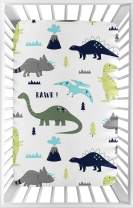 Sweet Jojo Designs Navy, Turquoise and Grey Dinosaur Baby Boy Fitted Mini Portable Crib Sheet for Mod Dino Collection - for Mini Crib or Pack and Play ONLY