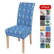 smiry Stretch Printed Dining Chair Covers, Spandex Removable Washable Dining Chair Protector Slipcovers for Home, Kitchen, Party, Restaurant - Set of 4, Blue Vintage