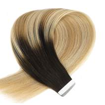 Neitsi 20 inch 25g Per Package 10 Pieces Tape in Human Hair Skin Weft Glue in Extensions A9 Silky Straight Color Macchiato Balayage Real Human Hair