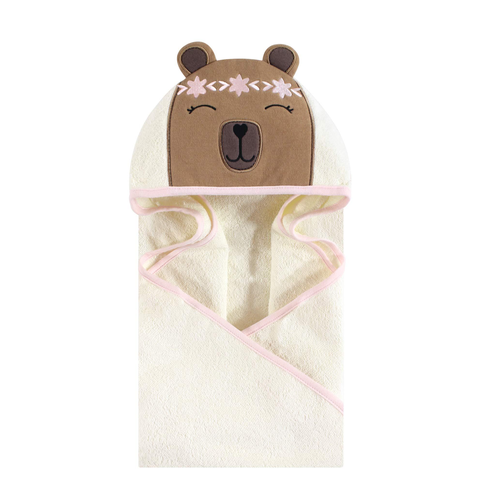 Hudson Baby Unisex Baby Cotton Animal Face Hooded Towel, Boho Bear, One Size