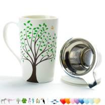 TEANAGOO M58-3 Ceramic Tea-Mug with Infuser and Lid, 18 OZ, Green Tree, Dad Mom Women Teaware with Filter Tea Cup Steeper Maker, Brewing Strainer for Loose Leaf, Diffuser mug set for Tea Lover