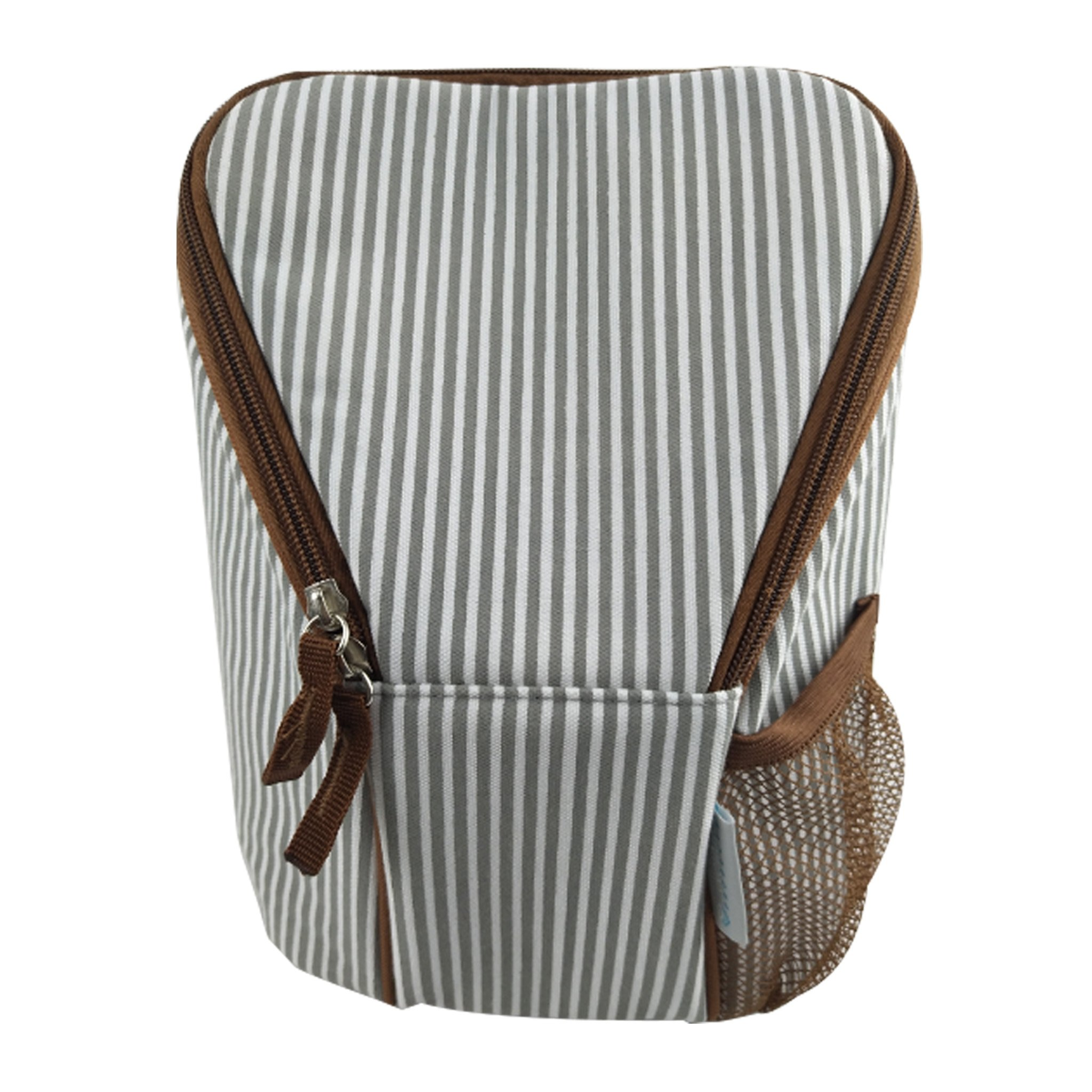 KidZone by IPP - Baby Bottle Bag - Insulated Tote, Dual Zipper, Mesh Pocket with Ice Pack (Grey/White Mini-Stripe Brown Trim)