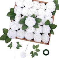 Felice Arts Artificial Flowers 25pcs Real Touch Fake Foam Roses w/Stem Decoration DIY for Wedding Bouquests Centerpieces Party Bridal Shower Home Decor(White)