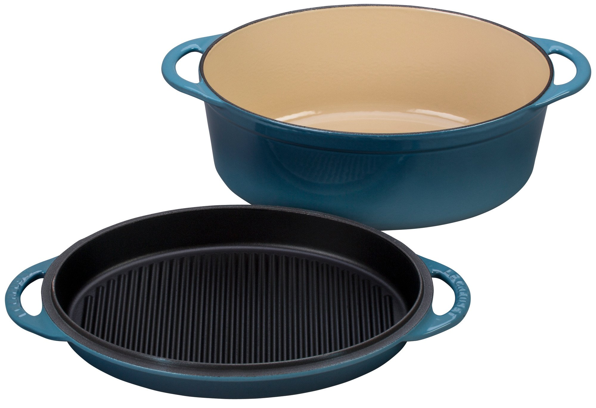 Le Creuset Cast Iron Oval Oven with Reversible Grill Pan Lid, 4 3/4 quart, Marine