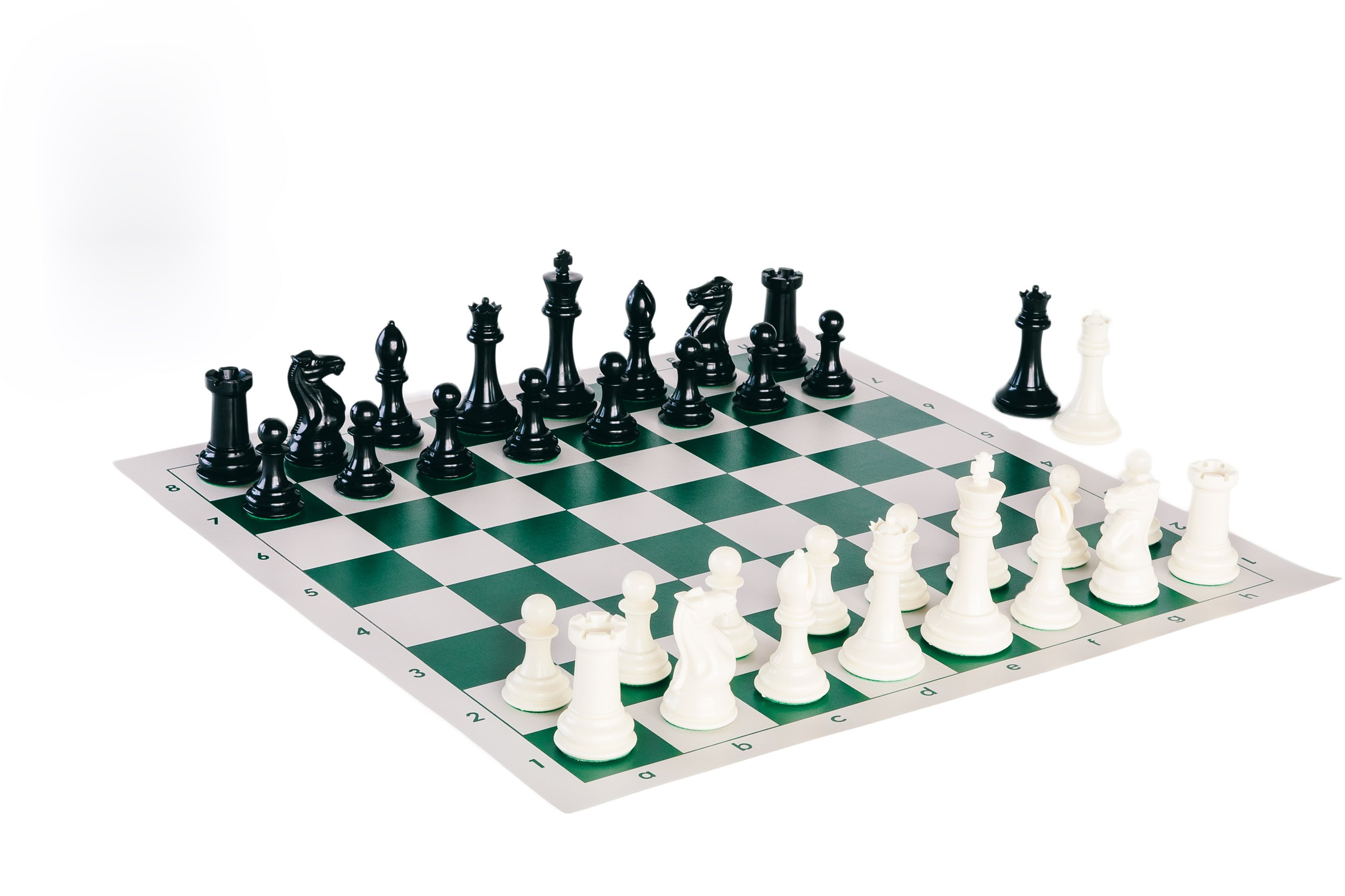 Quadruple Weight Tournament Chess Game Set - Chess Board Game with Staunton Ivory Chess Pieces, Green Vinyl Chess Board