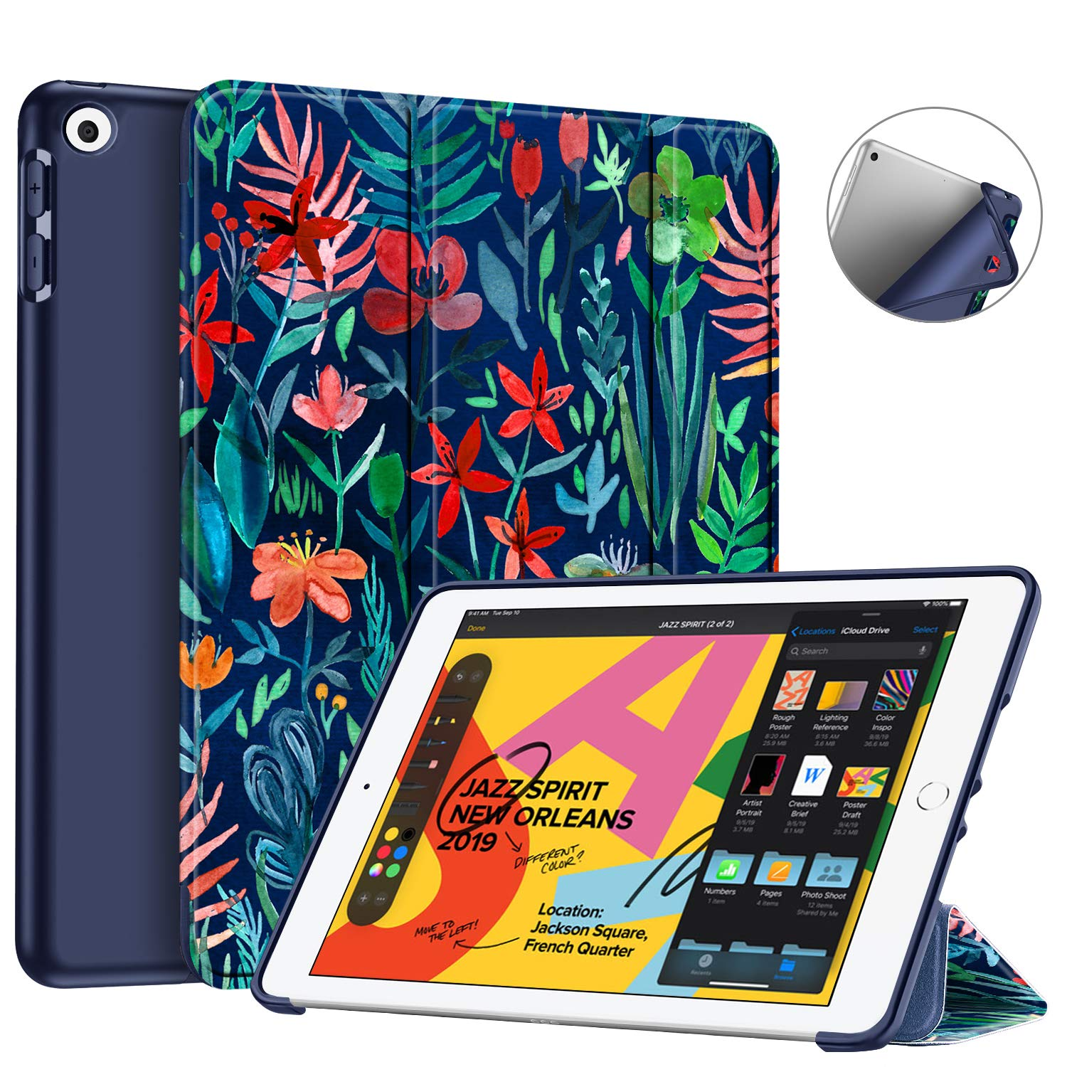 """Fintie SlimShell Case for New iPad 7th Generation 10.2 Inch 2019 - Lightweight Smart Stand with Soft TPU Back Cover Supports Auto Wake/Sleep for iPad 10.2"""" Tablet, Jungle Night"""