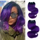 """FASHION LINE 8"""" Human Hair Bundles Ombre Two Tone Brazilian Virgin Hair Extensions Body Wave (4 bundles, 1b/purple)"""