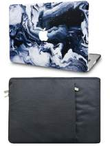 """KECC Laptop Case for MacBook Pro 13"""" (2020/2019/2018/2017/2016) with Sleeve Plastic Hard Shell A2159/A1989/A1706/A1708 Touch Bar 2 in 1 Bundle (Black Grey Marble)"""