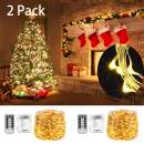 WERTIOO 33FT 100LEDs Battery Operated String Lights with Remote Control,8 Modes,Waterproof Battery Powered LED Fairy Lights Indoor/Outdoor for Bedroom,Christmas,Parties (Pack of 2 Warm White)