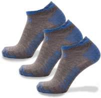 CloudLine Merino Wool Ultra-Light Athletic Tab Ankle Running Socks - 3 Pack - for Men & Women