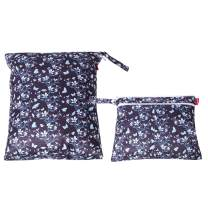 Damero 2Pcs Wet Dry Bag for Cloth Diaper, Swimsuit, Clothes, Ideal for Travel, Exercise, Daycare, Roomy and Water-Resistant(Butterflies and Flowers)
